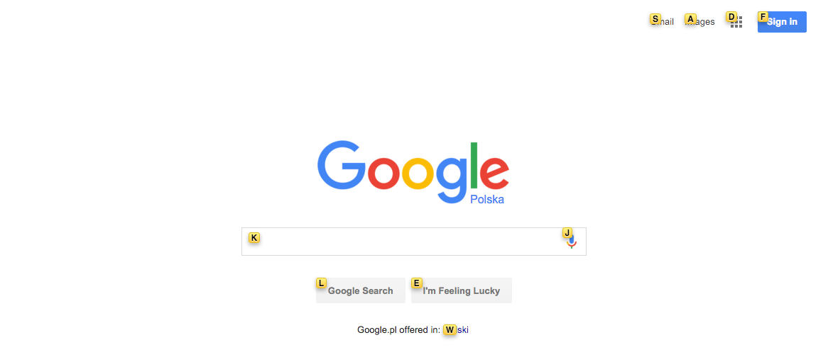 Google homepage shortcuts keys appering on the screen