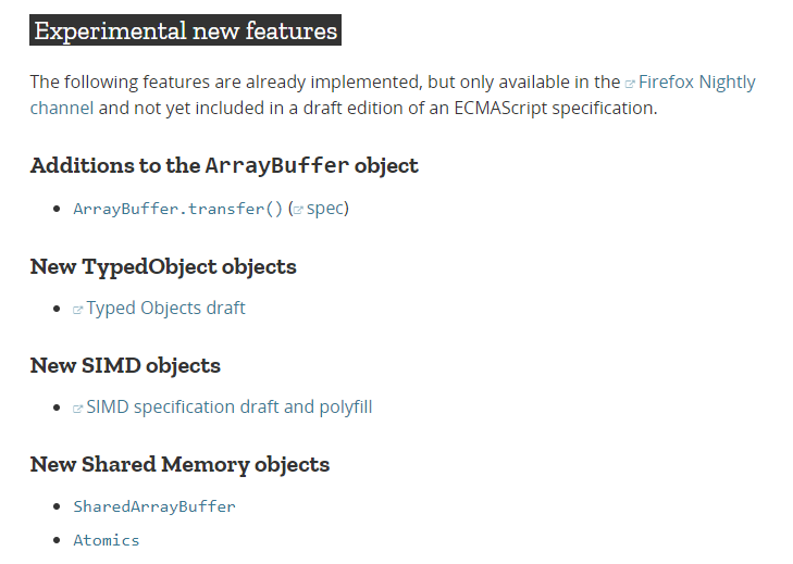 A screenshot from September 3, 2017. It is a list of JavaScript's experimental features that are not a part of ECMAScript (at least not yet).