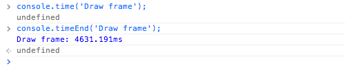 Timing code execution with console.time()