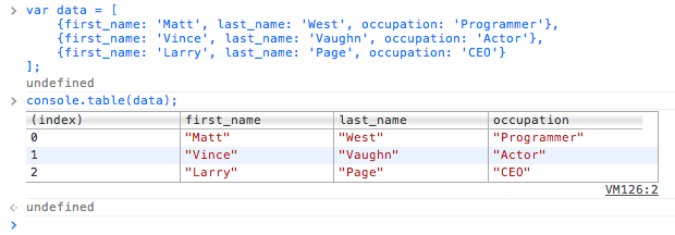 Creating interactive tables with console.table()
