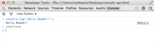 The developer tools console in Chrome