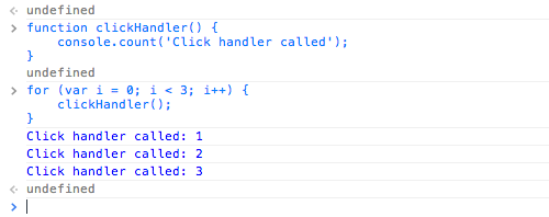 Using console.count() to count function calls