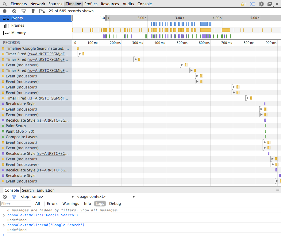 Creating timelines in Chrome with console.timeline()