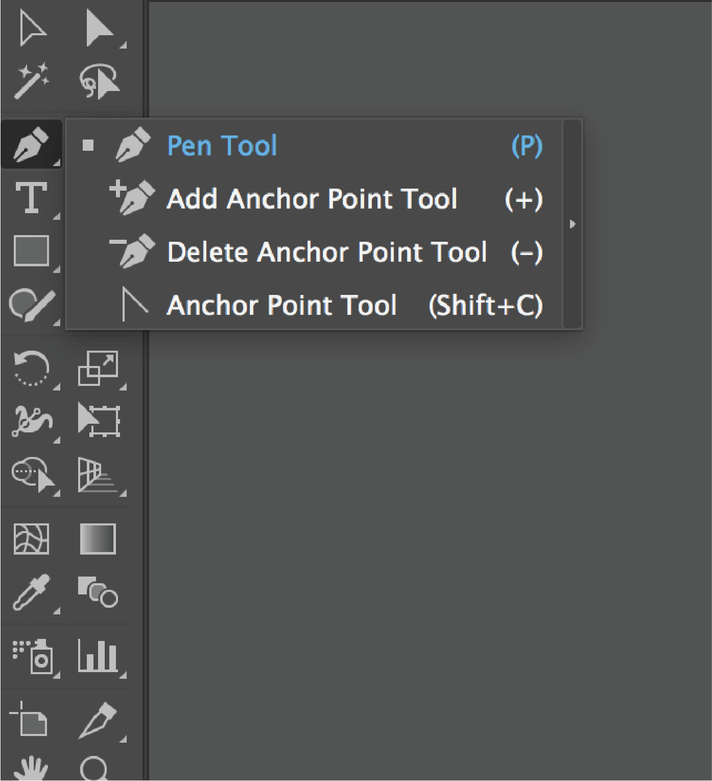 Selecting the pen tool from adobe illustrator