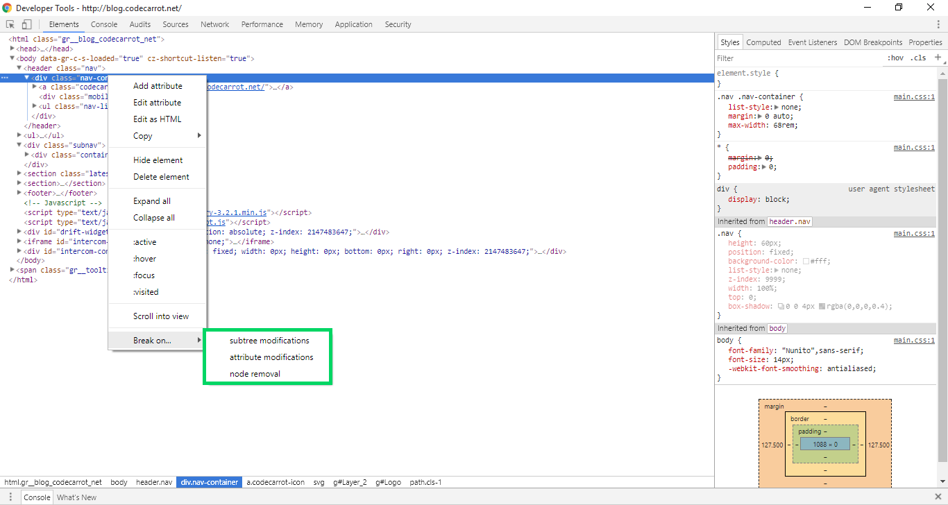 Screenshot of the DevTools featuring a contextual submenu titled Break On