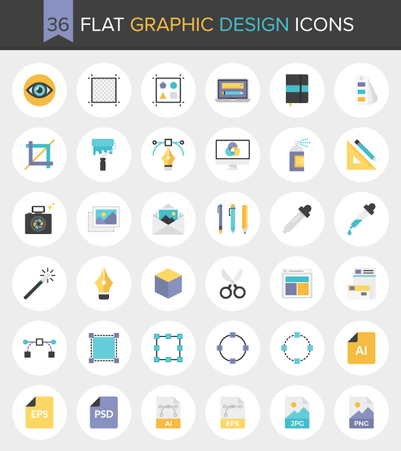 36 Flat Graphic Design Icons Preview