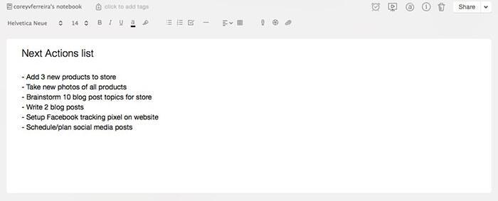 Next action list