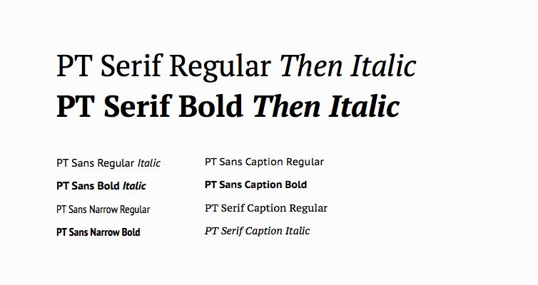 PT Serif Regular Then Italic