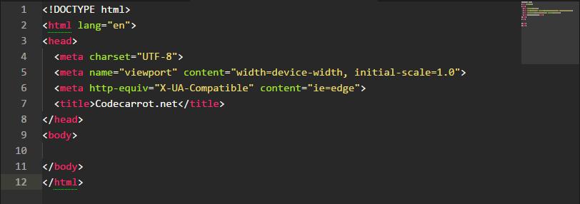 Screenshot of the basic html5 code