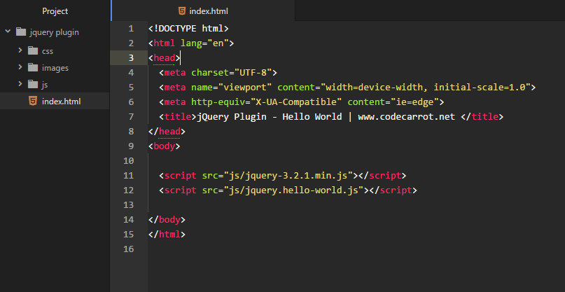 Screenshot of the folder creating new jquery plugin