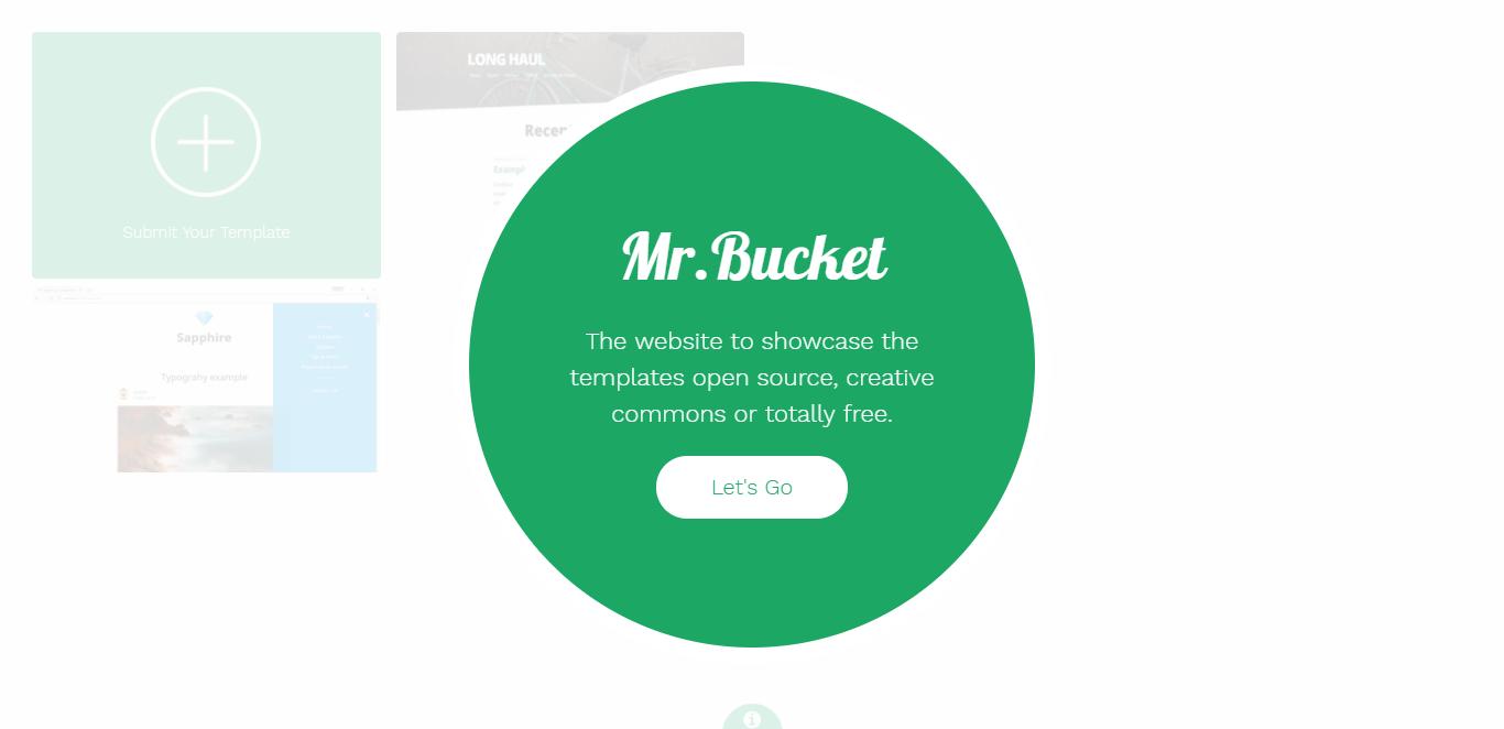 Screenshot of the Mr.Bucket Website